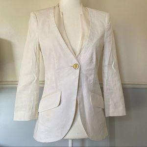 Bebe cream white blazer with chiffon shawl collar.